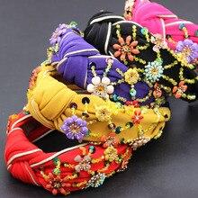 Moda artystyczna kwiaty owinięte osobowość taniec pałąk kolorowy kryształ kwiat geometryczny metal wszechstronny pałąk 865