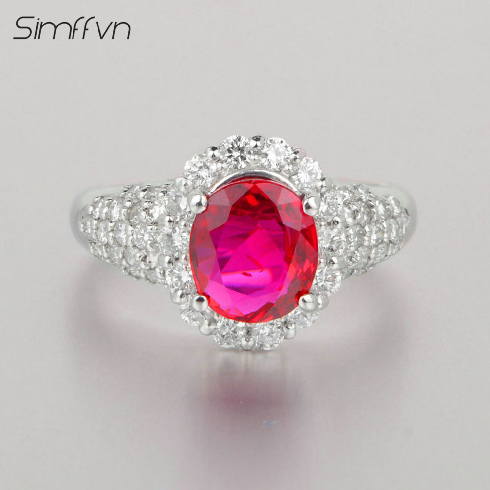 Classic Halo 1.88Ct Ruby Gemstone Ring With Client Stated Natural Diamond Stamped By Pt900 Platinum Engagement Ring For Women
