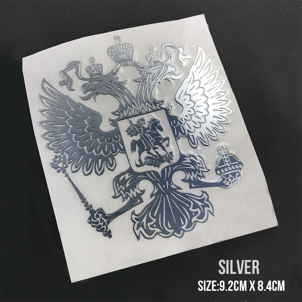 PITREW Coat of Arms of Russia Nickel Metal Car Stickers Decals Russian Federation Eagle Emblem for Car Styling 2