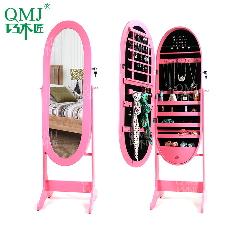 New Luxury Large Pink Dressing Mirror With Cabinet Bedroom Floor Standing Mirrored Makeup Organizer