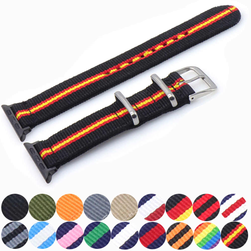 Nato Nylon Watchband for iWatch 4 3 2 1 for Apple Watch Band 38mm 40mm Watch Strap 42mm 44mm Rainbow Wrist Bracelet