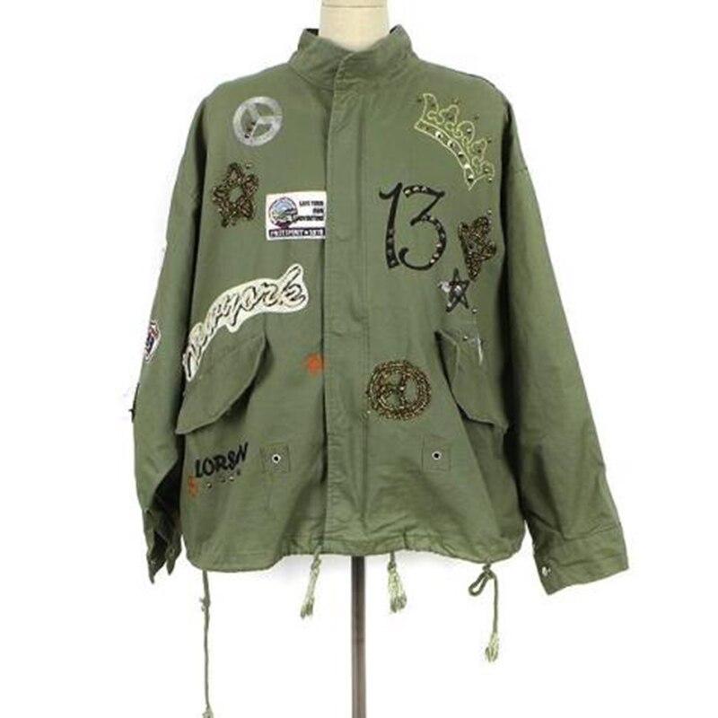 Vert Armée black Femmes D'été Rivet Patchwork Casacos Lâche Cordon Veste White Automne Pliable Manteau armygreen Badge Femininos Fq8UT