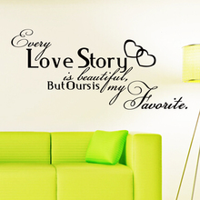 2015 Art Design home decoration vinyl Love Story Wall sticker removable house decor Romantic PVC English words character Decal
