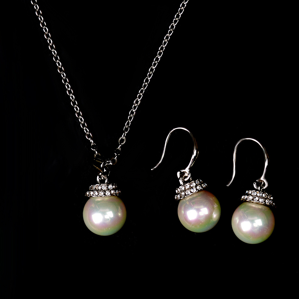 Free Shipping Fashion Noble Bridal Shell Pearl Necklace Earring Set Jewelry For Women 1set/lot