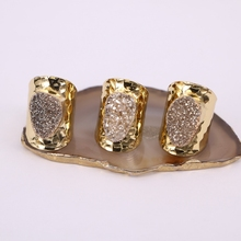 5 uds Natural cuarzo piedra preciosa anillos de color dorado ancho banda de titanio anillo de piedra joyas