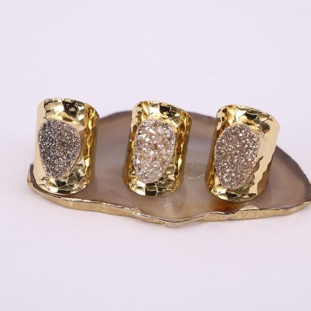 5 יחידות הטבעי קוורץ רן טבעות סטון, תכשיטי טבעת אבן בנד טיטניום צבע זהב רחב