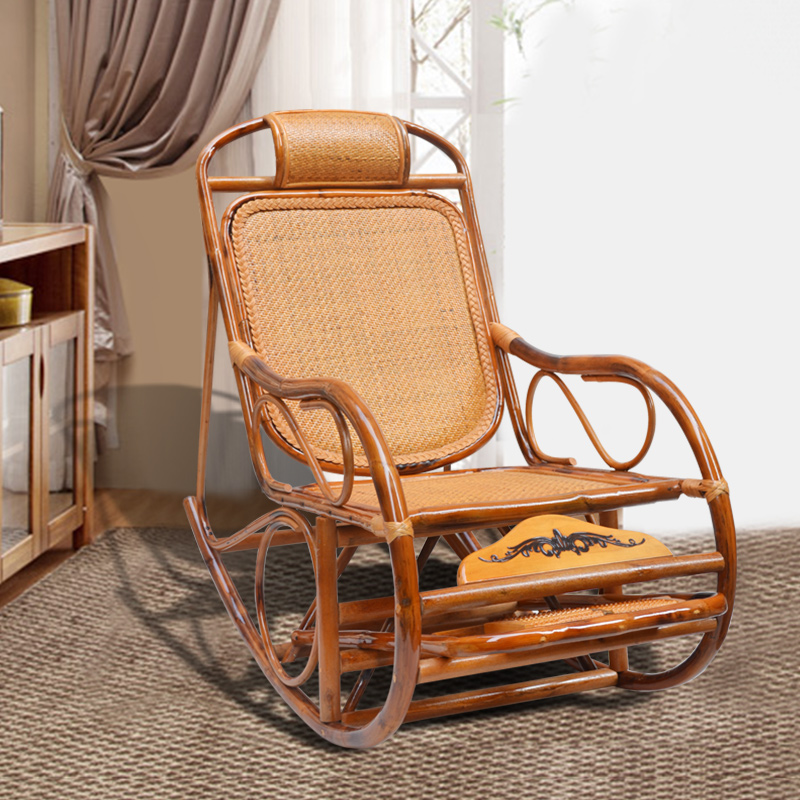 Retro Chairs Cheap: Cheap Rattan Rocking Chair Recliner Happy Vintage Balcony