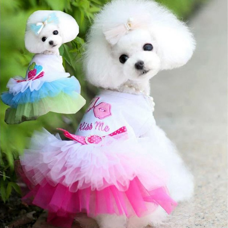 Summer Dog Dress Princess Teddy Skirts Lace Cake Casual Formal Dress for Dogs Costume Products Supplies