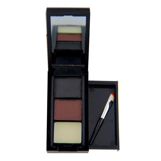 3 colores oferta profesional sombra de ojos cejas maquillaje cejas polvo + paleta de cera de cejas + pincel maquillaje maquiagem