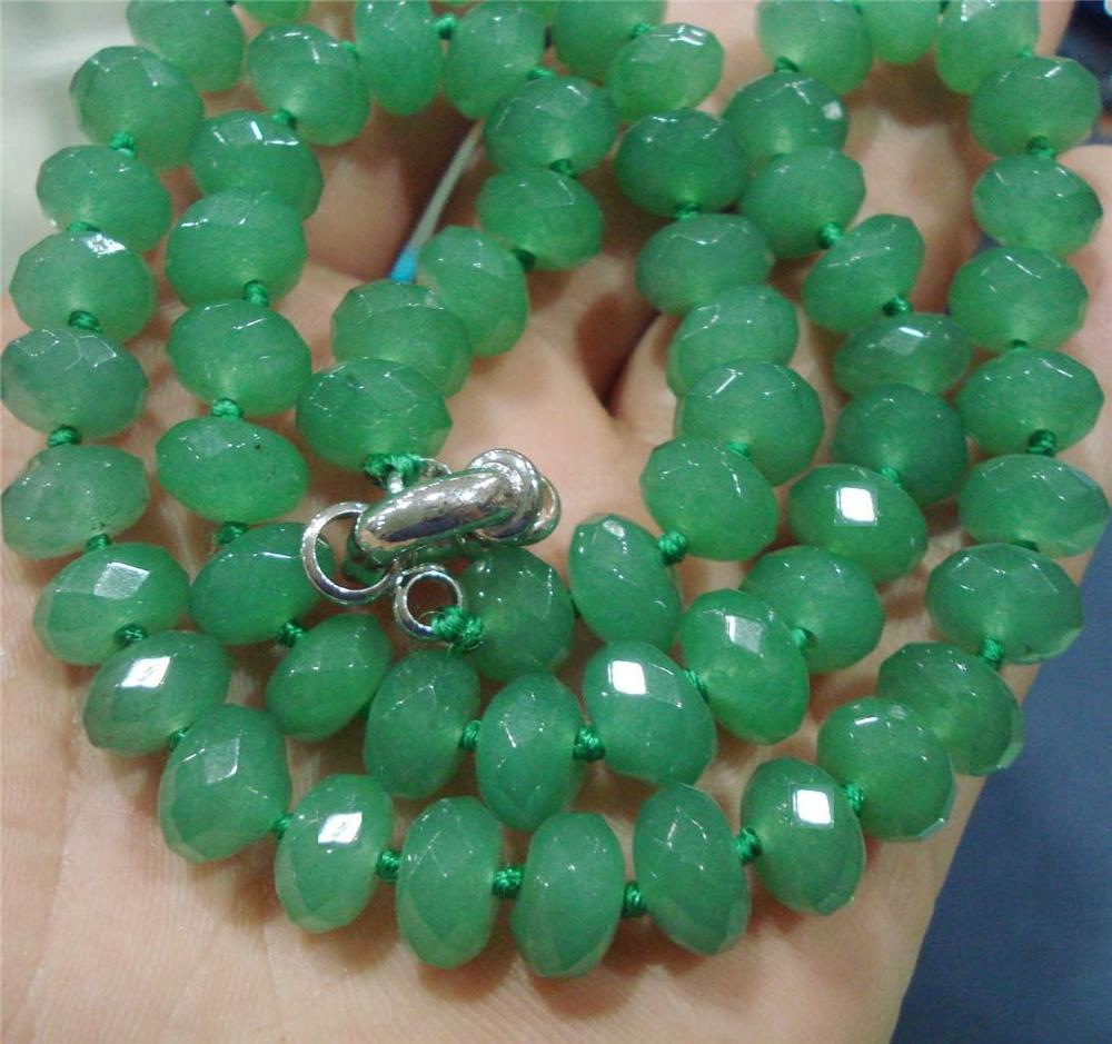 """25pc Faceted 5x8mm Green Emerald Roundel Beads Necklace 18"""" WW"""