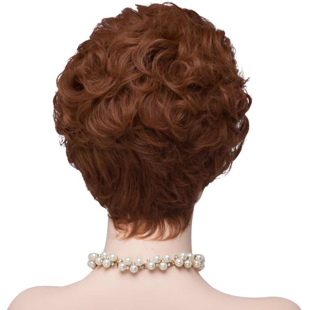 Парики из искусственных волос без шапочки-основы короткий волнистые красный парик для Хэллоуина карнавальный парик