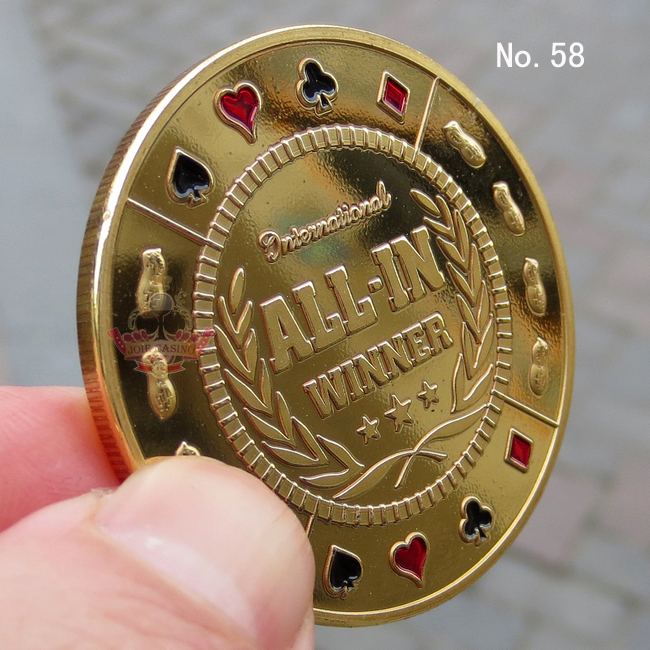 Metal for Pressing Poker Cards Guard Protector No.58  ALL-IN WINNER Poker Chips Souvenir Coins