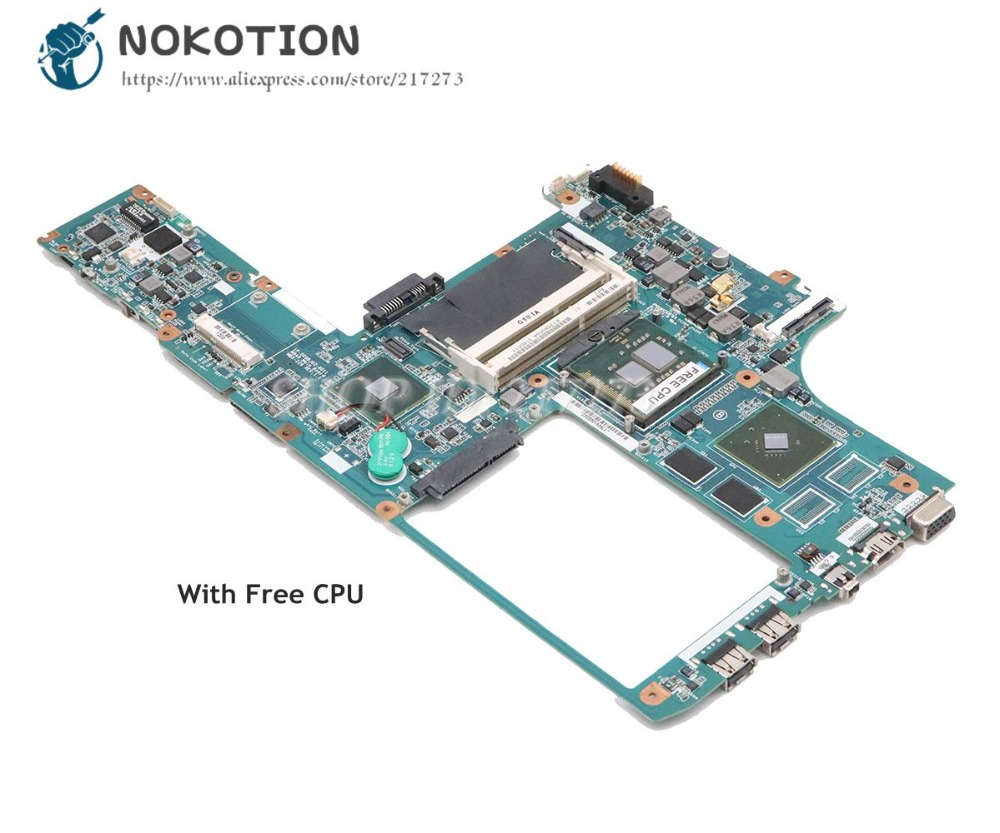 NOKOTION For Sony VAIO VGN-CW Laptop Motherboard GT310M A1768959A MBX-226 MAIN BOARD 1P-009BJ02-8011 PM45 DDR3 Free CPU
