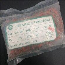 1000pcs/lot Y5V Ceramic capacitor 0.1uF 104 50V 100nF 104M Y5V