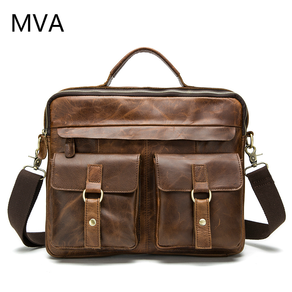 MVA Genuine Leather Men Bag Male Casual Tote Shoulder Crossbody Bags Messenger Mens Business Leather Bag Laptop Briefcases mva genuine leather men bag business briefcase messenger handbags men crossbody bags men s travel laptop bag shoulder tote bags