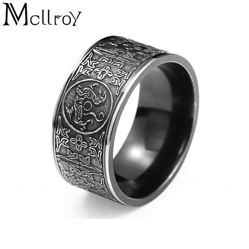 Mcllroy clásico anillos anillo de los hombres cuatro esquina dragón mítico griego símbolos Retro de titanio de acero regalo Punk comentado viking 2019