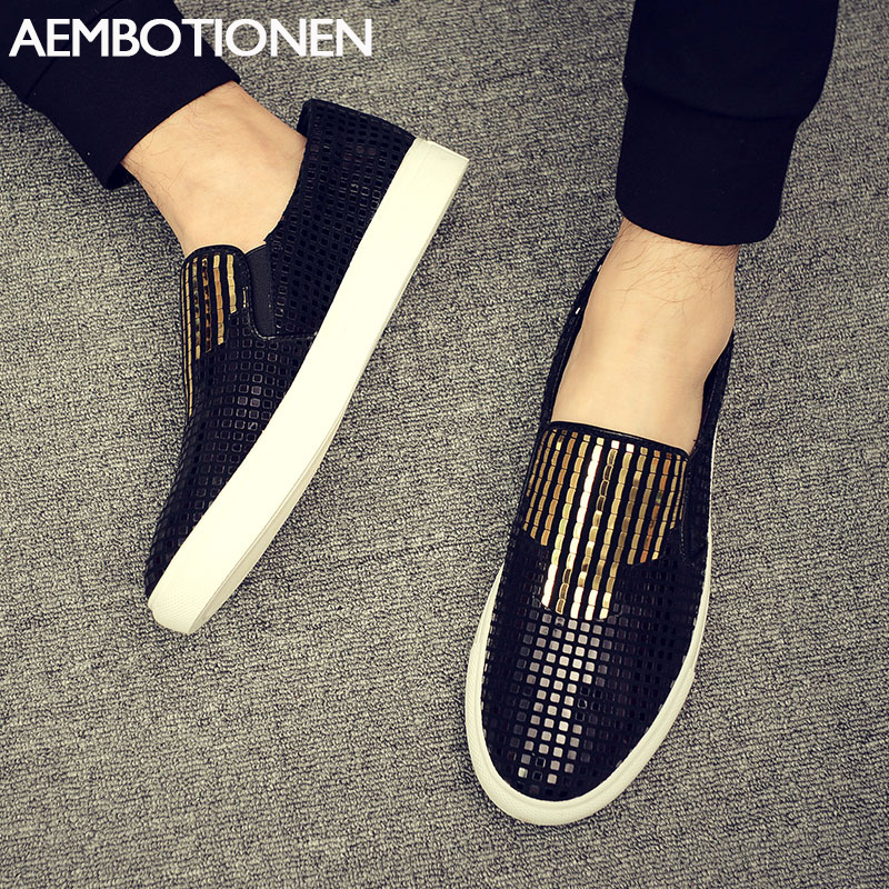 2016 New men's Casual Shoes Flat Shoes Summer Loafers Slip-on Fashion Glitter Men Shoes Breathable Leather Shoes Zapatos Hombre hot sell summer men loafers 2016 fashion men flat shoes slip on men casual shoes