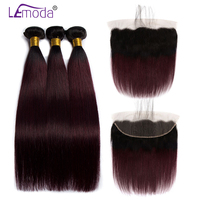 Brazilian Straight Hair Bundles With 13x4 Frontal Dark Roots 99J Ombre Human Hair With Closure LeModa Remy Hair Extensions