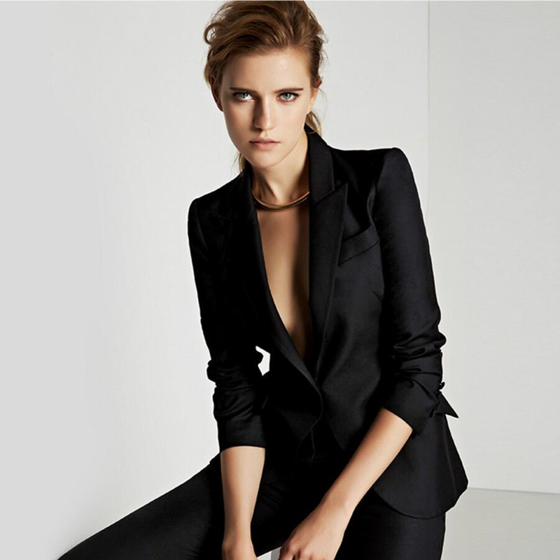 31.1 Custom made Black Female Suit Office Ladies Formal Business Work Wear (Jacket+Pants)