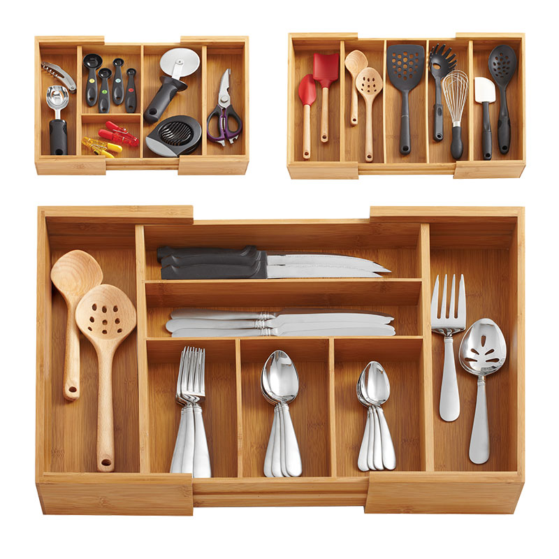 Bamboo Storage Box Kitchen Accessories Organizer Eco Wood Adjustable Utensil Drawers Knife Storage Holders Multi Use