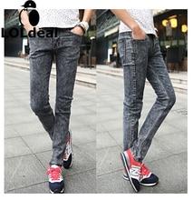 Мужская осень темно-серый мужской тонкий джинсы тощий карандаш брюки джинсы мужчины робин джинсы homme