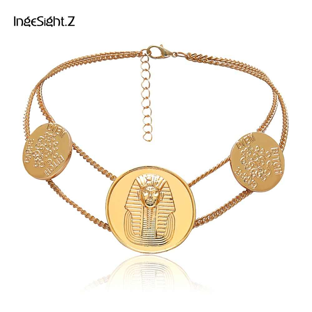 730d31dc0ef Z Vintage Hyperbole Sphinx Rune Choker Necklace Women Fashion Big Pendants  Double Layer Chain ...