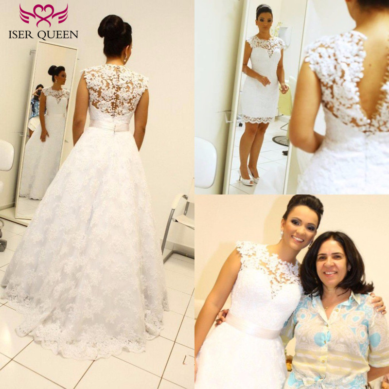 Vintage Two In One Design A Line Plus Size Wedding Dresses 2019 New Sleeveless Embroidery Appliques Wedding Dress Bridal Gown