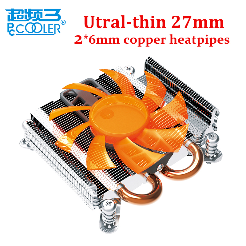 Pccooler utral-thin 27mm cpu cooler for HTPC mini case small Chassis  all-in-one computer pc cpu cooling radiator fan for intel pccooler 12cm computer case cooling fan quiet cpu and power cooler fan cooling radiator fan 120mm computer pc chassis fan silent