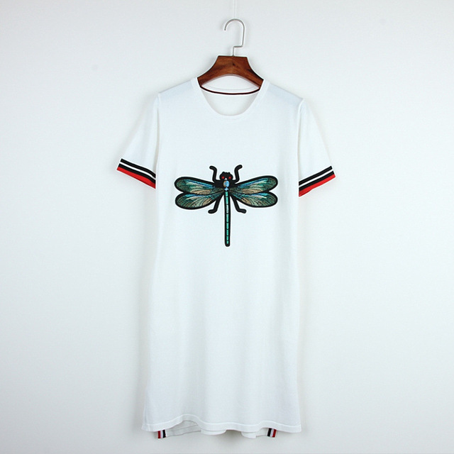 2018 New Summer Womens Dresses Fashion Dragonfly Embroidery Print
