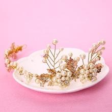 TUANMING Hot Fashion Pearl Jewelry Hair Accessories For Women Headband Flower Tiara Top Quality Headpiece Hair Clip Hairband