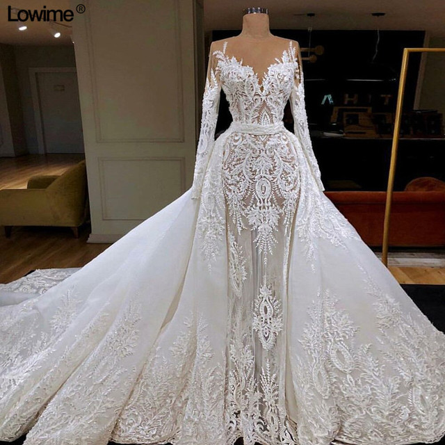 Lowime Illusion Lace Wedding Dresses 2019 V-Neck Beading Sequined vestido de noiva Muslim Long Sleeves Bridal Gowns