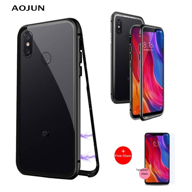 976b850128d Xiaomi MI 8 Magnetic Adsorption Flip Case For Xiaomi Mi 8 Mi8 Magnetic  Tempered Glass Back