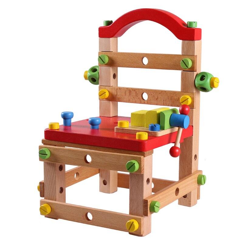 Livraison gratuite chaise de travail polyvalente blocs de bois jouet, modèles en bois et jouet de construction jouet outil éducatif pour enfants