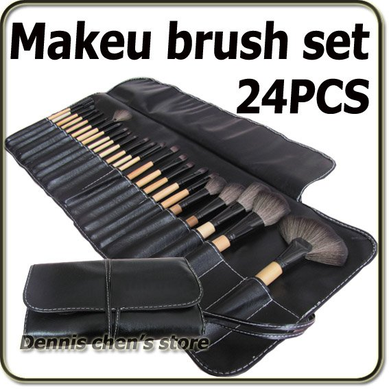 24 Pieces Professional Black Makeup Brush Set Cosmetic Make up Brushes Kit With Pouch Bag Free Shiping Wholesale professional cosmetics makeup brush set 12pcs brushes cosmetic kit leather bag pouch brand make up tool