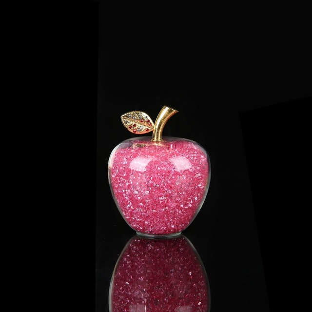 Colorful Crystal Craft Glass Apple Paperweight with Diamond Natural Stone Home Decor Ornament Fruit Figurines Gift Souvenir 4
