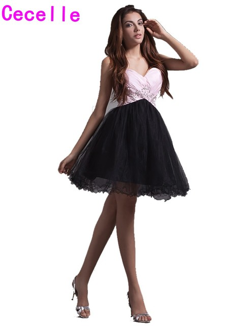 370bc21bd 2019 Cute Pink Short Homecoming Dresses Juniors Sweetheart Beaded  Embrpidery Tulle Mini Teens Homecoming Party Gowns Cheap