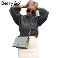 BerryGo Pearl turtleneck solid knitted christmas sweater Lantern sleeve gray women sweaters and pullovers Female autumn casual