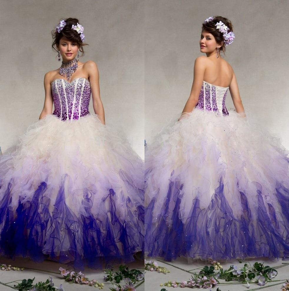 Popular Purple White Quinceanera Dresses-Buy Cheap Purple White ...