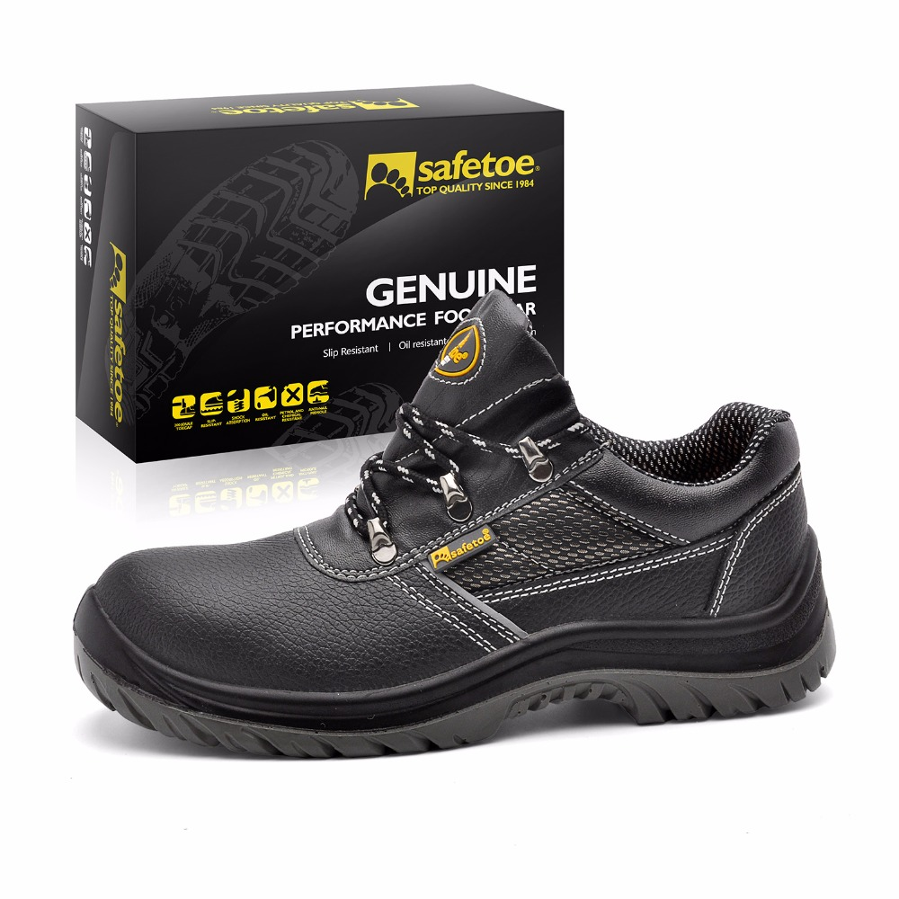 safetoe Safety Shoes Breathable Work Shoes for Men Leather Safety Boots Steel Toe men Work Boots Metal Toe Waterproof halinfer men steel toe safety work shoes 2018 breathable lightweig slip on casual shoes safety shoes for men