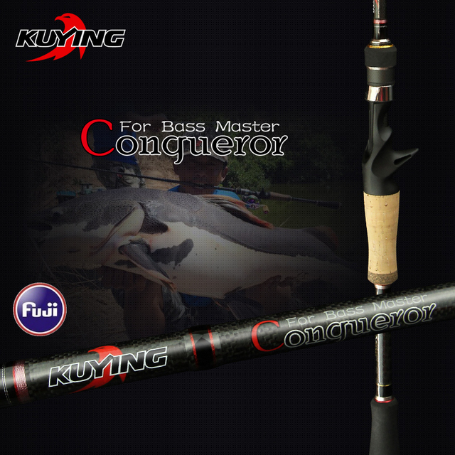 KUYING Conqueror 1.98m 2.0m 2.07m Fast Action Casting Spinning Fishing Lure Rod Carbon Stick Cane Pole 2 Sections Bass Master