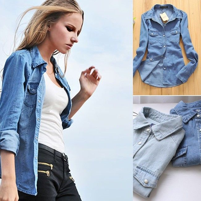 e6ca22f450 2015 New Women Fashion Style Lady Girl Retro Vintage Long Sleeve Blue  Autumn Jean Denim Shirt Tops Blouse Clothes S M L XL-in Basic Jackets from  Women s ...