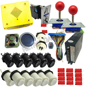 DIY jamma arcade cabinet game kit 999 in 1 Multigame PCB Board with 8 way joystick Happ Buttons Power Supply 28P JAMMA Loom
