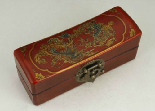 Exquisite Chinese Classical Old-style Wood Handwork Dragon Phoenix Jewel Box