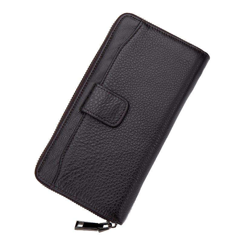 Business Black Coffee Mens Long Zipper Wallet Cow Genuine Leather Banknote Clip Mobile Phone Bit Bank Card Bill Holder Burse