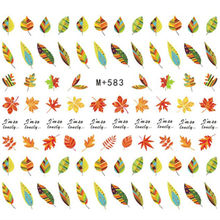 цена на 1 Sheet Leaf Nail Stickers Maple Leaves Nail Art Water Decals Colorful Plants Pattern Nail Transfer Stickers Autumn Winter Style