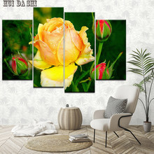 Modular Art Painting HD Printed Poster Frame Home Decoration 4 Panel Beautiful Yellow Roses Living Room Wall Canvas Pictures(China)
