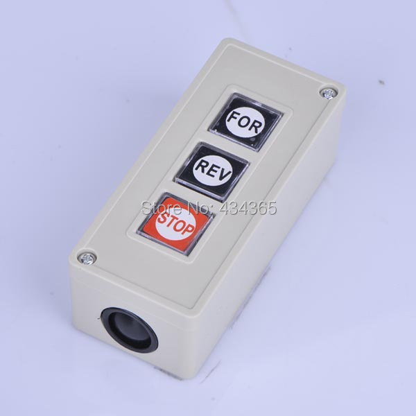Free shipping CPB-3 Model FOR/REV/OFF 1NO+1NC Pushbutton Push Button Switch AC 250V 3A on off start stop push button pushbutton switch 87x56mm with dust cover