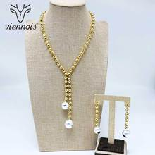 Viennois Gold /Silver Color Beading Pendent Necklace Beading Drop Earrings Jewelry Sets for Women Wedding Bridal недорого