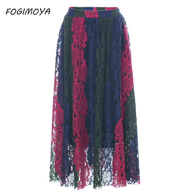Fogimoya 2018 Summer Skirt Women Lace Embroidery Hollow Out Long A Line Skirts Women's Casual Wild Big Skirt Pleated Skirts