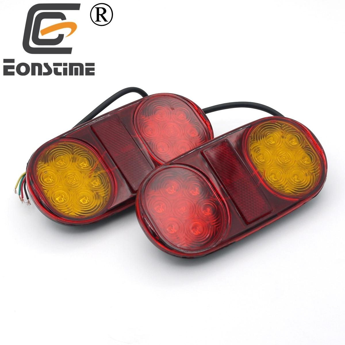 Eonstime 2pcs 14 Leds 12V/24V Car LED Caravan Truck Lights Boat Trailer Lamp Stop Tail Brake Light Lamp Trailer Taillight